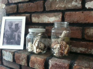 Grandpa's honey jar, center, and Grandma's canning jar on the mantel.